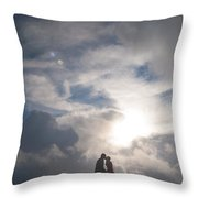 Romantic Couple On A Mountain Peak Throw Pillow