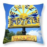 Route 66 - Sunset Motel Throw Pillow