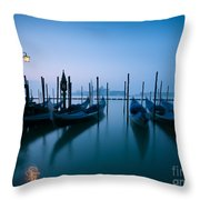 Row Of Gondolas At Sunrise Venice Italy Throw Pillow