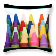 Rows Of Crayons Throw Pillow