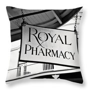 Royal Pharmacy - Bw Throw Pillow