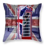 Royal Telephone Box Throw Pillow by David French