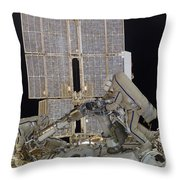 Russian Cosmonauts Working Throw Pillow