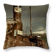 Rusted Whaling Boats Throw Pillow by Amanda Stadther