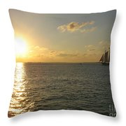 Sailing Into The Sunset - Key West Throw Pillow