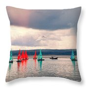 Sailing On Marine Lake A Reflection Throw Pillow