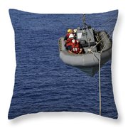 Sailors Lower A Rigid-hull Inflatable Throw Pillow