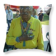 Samuel Tso Pledging Allegiance Navajo Code Talker Peart Park Casa Grande Arizona 2007 Throw Pillow