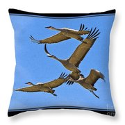 Sandhill Cranes In Flight Throw Pillow