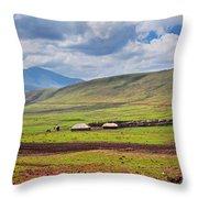 Savannah Landscape In Tanzania Throw Pillow