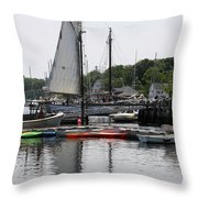 Schooner Camden Harbor - Maine Throw Pillow