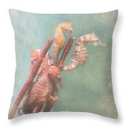 Sea Horses Throw Pillow by Angie Vogel