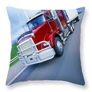 Semi-trailer Truck Throw Pillow