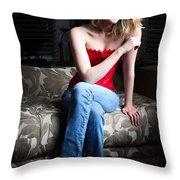 Sexy Blond Sitting Throw Pillow