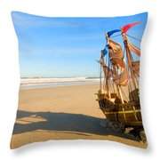 Ship Model On Summer Sunny Beach Throw Pillow