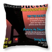 Silhouette Photographer Faux Magazine Cover Throw Pillow