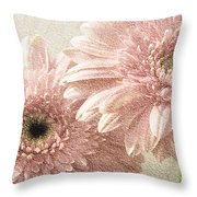 2 Silver Pink Painterly Gerber Daisies Throw Pillow