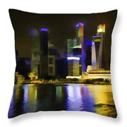 Singapore Skyline As Seen From The Pedestrian Bridge Throw Pillow