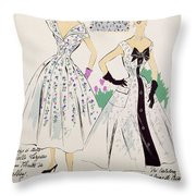 Vintage Fashion Sketches And Fabric Swatches Throw Pillow