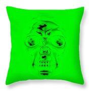 Skull In Green Throw Pillow