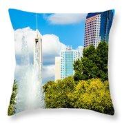Skyline Of A Modern City - Charlotte North Carolina Usa Throw Pillow