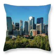 Skylines In A City, Bow River, Calgary Throw Pillow