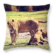 Small Lion Cubs With Mother. Tanzania Throw Pillow