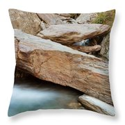 Small Waterfall Casdcading Over Rocks In Blue Pond Throw Pillow