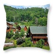 Smoky Mountain Cabins Throw Pillow
