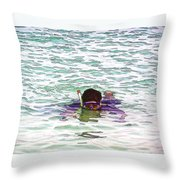 Snorkeling In The Lagoon Inside The Coral Reef Throw Pillow