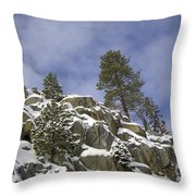 Snow Covered Cliffs And Trees II Throw Pillow