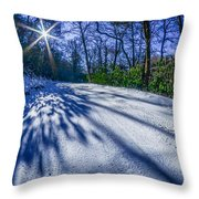 Snow Covered Road Leads Through The Wooded Forest Throw Pillow