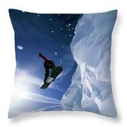 Snowboarding In Lake Tahoe Throw Pillow