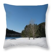 Snowmobile Tracks Throw Pillow