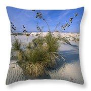 Soaptree Yucca In Gypsum Dunes White Throw Pillow