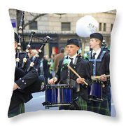 Some Bagpipers Marching In The 2009 New York St. Patrick Day Parade Throw Pillow