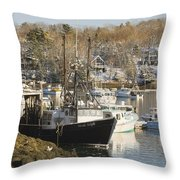 South Bristol And Fishing Boats On The Coast Of Maine Throw Pillow
