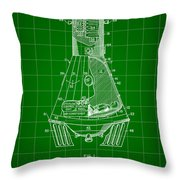 Space Capsule Patent 1959 - Green Throw Pillow