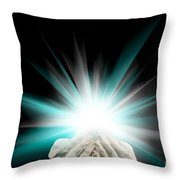 Spiritual Light In Cupped Hands On A Black Background Throw Pillow