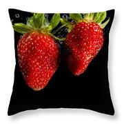 Splash Strawberry Throw Pillow