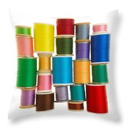 Spools Of Thread Throw Pillow by Jim Hughes