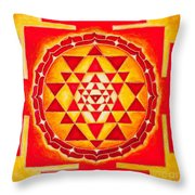 Sri Yantra For Meditation Painted Throw Pillow