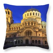 St Alexander Nevsky Cathedral At Dusk Sofia Bulgaria Throw Pillow