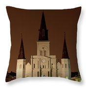 St Louis Cathedral At Night Throw Pillow