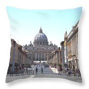 St Peter Basilica Viewed From Via Della Conciliazione. Rome Throw Pillow by Bernard Jaubert