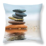 Stack Of Beach Stones On Sand Throw Pillow