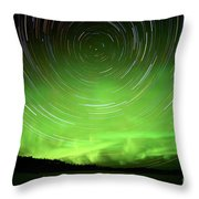 Star Trails And Northern Lights In Night Sky Throw Pillow