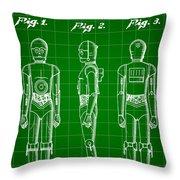 Star Wars C-3po Patent 1979 - Green Throw Pillow