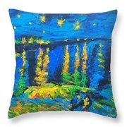 Starry Night Bridge Throw Pillow