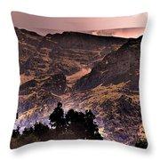 Starry Night Landscape Throw Pillow